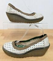 Ladies FLY LONDON Cream Leather Slip on Wedge Heel - UK 6 EUR 39