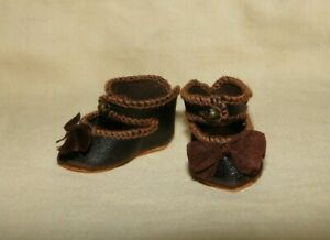 "leather shoes Bebe Jumeau style for antique doll size 1"" 5/8 ( size 1)"