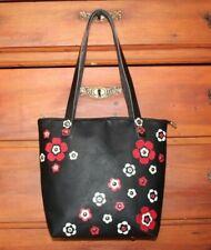 Borsa vera pelle artigianale nera rosso bianco fantasia fatta mano made in italy