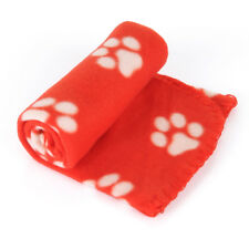 Red Pet Dog Small Large Paw Print Cat Dog Puppy Fleece Soft Blanket Bed Cushion