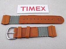 Genuine Timex Expedition watch band strap olive green nylon tan leather 19mm lug