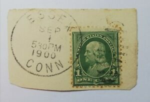 UNITED STATES POSTAGE ''1 ONE CENT 1'' 1898 VERDE SCURO FRANKLIN ANNULLATO.