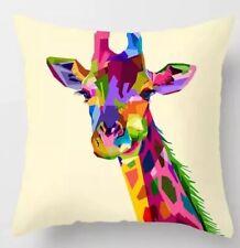 "Multicoloured Giraffe Design Cushion Cover 17"" X 17"" Home Sofa Decor"