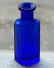 Old cobalt blue coffin shaped RIGO Glass 1oz POISON bottle *FREE SHIPPING!