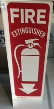 "(1-SIGN) 4"" X 12 RIGID PLASTIC 90* ANGLE ""FIRE EXTINGUISHER ARROW"" SIGN NEW +TAG"