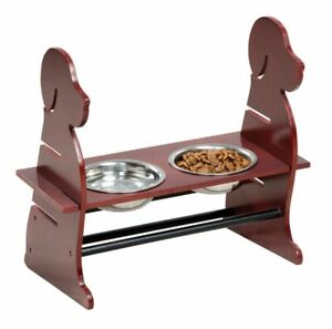 Pet Dog Raised Feeder Bowl Stand Cat Wooden Adjustable 2 Metal Dish Feed Station