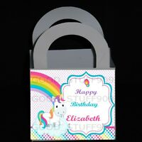 UNICORN 12 PERSONALIZED BIRTHDAY PARTY FAVORS  BOXES 3 X 3 X 2.5 INCHES