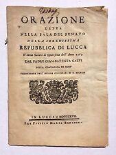Repubblica di Lucca - Giam Battista Calvi - Orazione -Collegiata S. Michele 1767