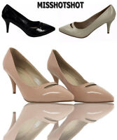 Leona Women's Low Mid Heels Slip On Court Shoes Ladies Pumps Party Work Size New