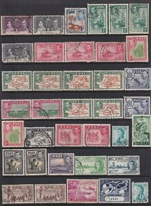 FIJI 1937 TO 1968 SELECTION OF USED ON FIVE PAGES A NICE LOT