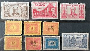 FRANCE COLONIE INDOCHINE - LOT DE 10 TIMBRES : 4 TIMBRES NEUF + 6 TIMBRES TAXES