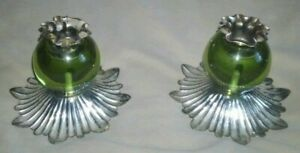 Vintage Green Glass And Metal Candleholders Set Of 2. Vintage. Small. Art Deco.
