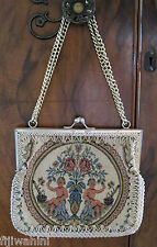 VINTAGE ANTIQUE TAPESTRY PURSE HANDBAG CLUTCH MADE IN ITALY