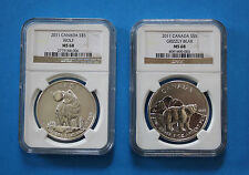 2011 Canadian $5 Silver Wolf & Silver Grizzly pair - NGC MS68