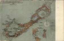 Bermuda MAP w/ Inset Map of Atlantic Ocean c1910 Postcard