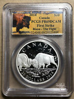2014 Canada Bison The Fight $20 Silver PCGS PR69DCAM First Strike