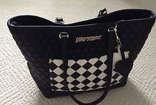 BETSEY JOHNSON QUILTED HEARTS BLACK SHOPPER TOTE BAG-NEW-Retail $108