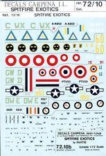 Carpena 1/72 Decal Sets- Lot of 3 Spitfire Exotics MPNs: #72.10, 72.17, 72.18