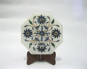 05 Inches Marble Decorative Plate Floral Pattern Inlaid Tea Pot Cum Kettle Stand