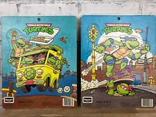Set Of 2 Vintage 1990 Teenage Mutant Ninja Turtles Rose Art Jigsaw Tray Puzzles