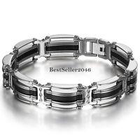 Mens Silver Stainless Steel Biker Chain Black Rubber Bracelet Wristband