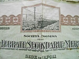 """Certificato Azionario""""Strade Ferrate Secondarie Vesuviane """" Napoli 1926"""