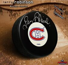 LARRY ROBINSON Signed Montreal Canadiens Original Six Puck