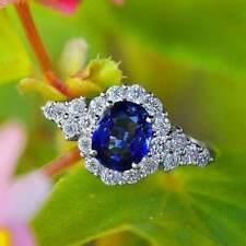 925 Silver Ring Wedding Gift Size 9 Fashion Women Jewelry Oval Cut Blue Sapphire