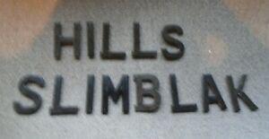 "HILLS SLIMBLAK  NUMBER PLATE DIGITS / LETTERS  3 1/8""  - 1970 S"