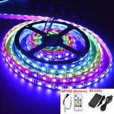 16.4ft 12V RGB 2811 Waterproof Black PCB 300 LED Strip Light kit set