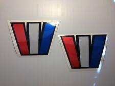 2 Wellcraft W boat decals  BIG 7 x 5 inches Reflective red white & blue W