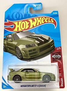 Hot Wheels #45 Metallic Green Nissan Skyline GT-R (BNR34) GTR 1:64 R34