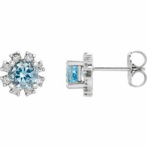 Aquamarine & 1/2 CTW Diamond Earrings In Sterling Silver