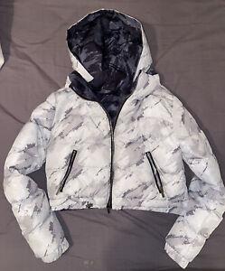maniere de voir Womens Cropped Puffer Jacket Coat Reversible White Grey XS 6 8