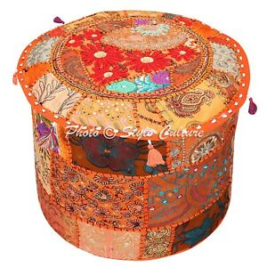 Ethnic Pouffe Cover Ottoman Orange Cotton Patchwork Embroidered Round 18 Inch