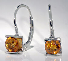 14k White Gold Earrings Channel Set 5mm Round Citrine Lever Backs