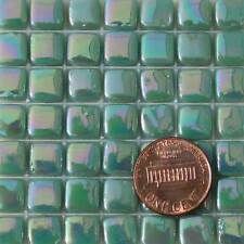 8mm Mosaic Glass Tiles - 2 Ounces About 87 Tiles - Iridescent Teal #1