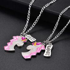 1 Pair Girls BFF Best Friends Silver Pink Sparkling Unicorn Necklace Pendant Set