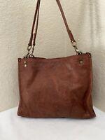 American Leather Co. Lenox Cognac Glove Tooled Leather Shopper Tote Satchel Bag