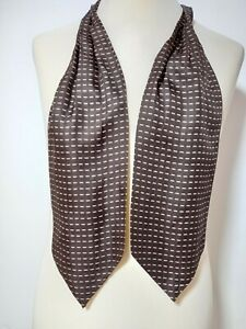"""BEAUTIFUL BROWN ASCOT 100% SILK STRIPED 50""""/6"""" EXCELLENT CONDITION"""