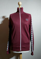 Fred Perry Taped Sportswear Detail Track Jacket Unisex Size XS Burgundy Retro