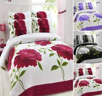 ROSALEEN FLOWER PRINTED TEDDY BEAR SHERPA  DUVET COVER SET BEDDING SET ALL SIZE