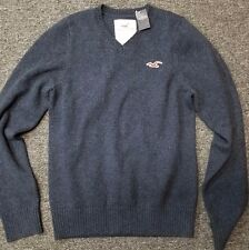 HOOLISTER by Abercrombie & Fitch V-neck Navy WOOL Sweater- Retailed at $99.50 XL