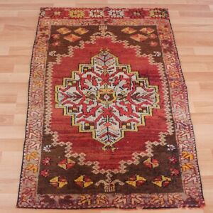 Turkish Oriental Oushak Carpet 2x4 ft Vintage Hand Knotted Wool Small Carpet Rug