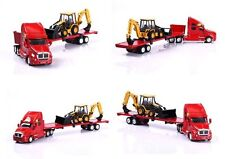Norscot 1/50 Scale CAT Rental Store FlatBed Hauler W/ 420D BackHoe NEW 55117