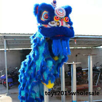 Lion Dance Mascot Costume Wool Southern Blue Lion Chinese Folk Art For Two Adult