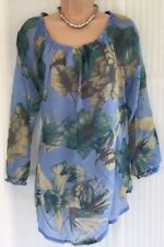 NEW JOE BROWNS S blue sheer floral Bardot tunic gypsy blouse top FREE scarf