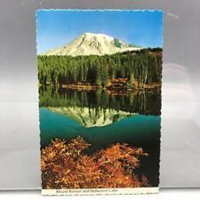 Vintage Mt. Rainier Reflection Lake Washington Unused Postcard