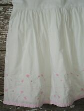 Pottery Barn Kids Jacqueline Pink Embroidered Flowers White Bedskirt Full Size