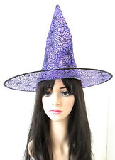 Purple & Black Spider Witch Hat Halloween Fancy Dress Costume Womens Girls S58